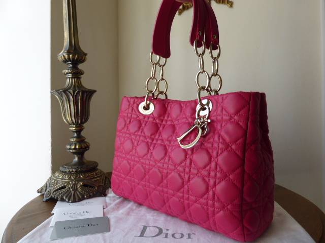 Dior Soft Small Tote in Fuschia Lambskin with Gold Hardware - New