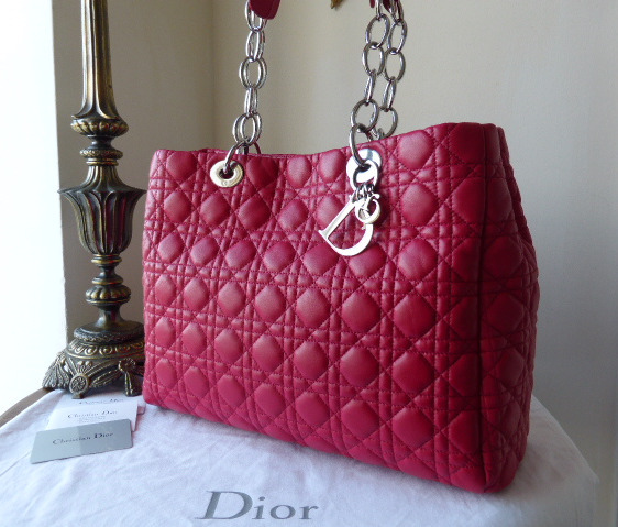 dior soft large tote raspberry pink lambskin shw