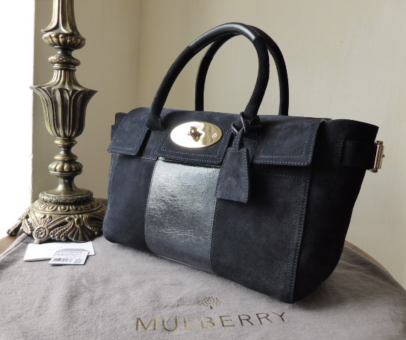 mulberry bayswater buckle small midnight blue suede