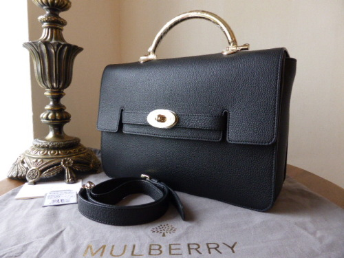Mulberry Bayswater Shoulder (Larger Sized) in Black Grainy Calf Leather - N