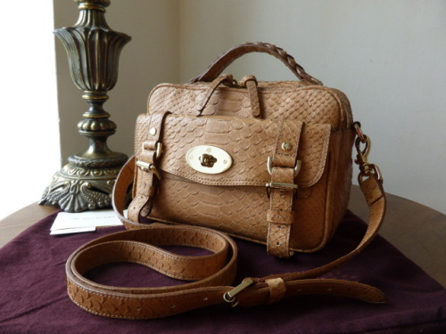 Mulberry Alexa Postmans Lock Camera Bag in Oak Silky Snake Print Leather