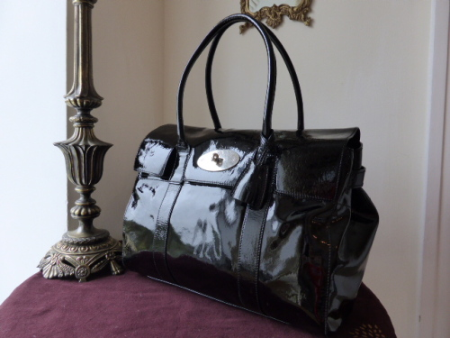 Mulberry Bayswater for Macbook Laptop Bag in Black Drummed Patent Leather