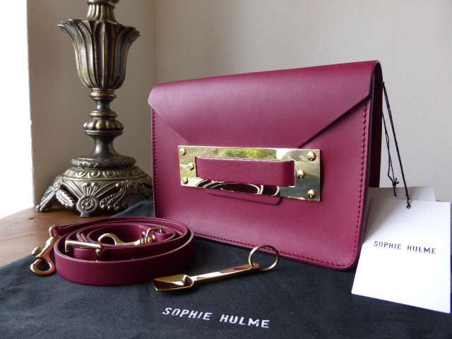 Sophie Hulme Envelope Mini Clutch in Smooth Burgundy Leather - As New*