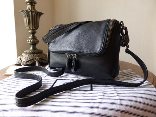 Anya Hindmarch Maxi Zip Small Cross Body in Black High Shine Leather