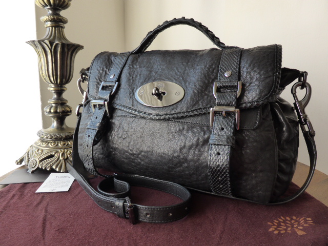 Mulberry Regular Alexa in Black Lambskin Plonge with Python Trim