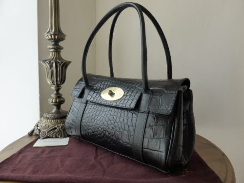Mulberry East West Bayswater in Black Printed Natural Leather