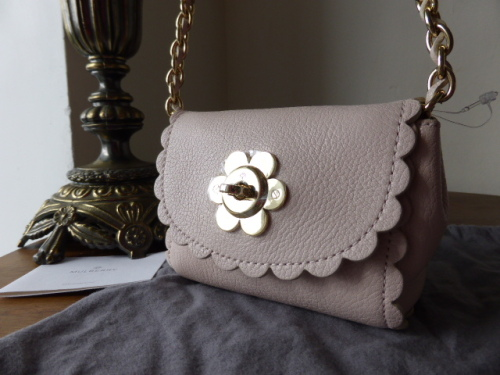 Mulberry Mini Cecily Flower in Light Berry Cream Classic Calf Leather - New