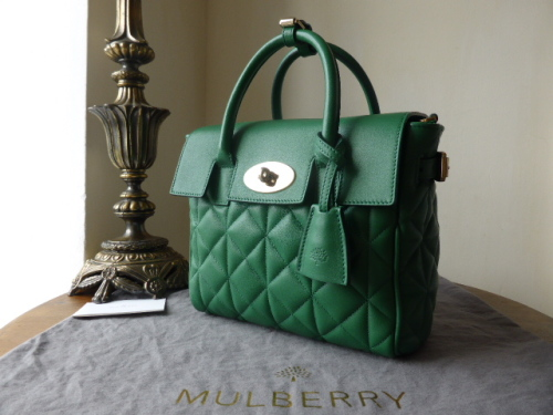 Mulberry Mini Cara Delevingne Bag in Green Quilted Lamb Nappa