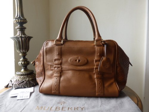 Mulberry Maisie Clipper in Oak Silky Snake Print & Nappa Leather