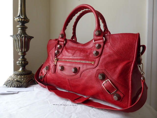 Balenciaga Giant Part Time in Coquelicot Lambskin with Rose Gold Hardware