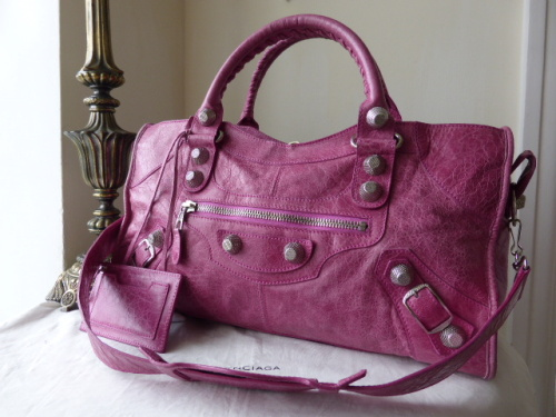 Balenciaga Giant Part Time in Magenta Lambskin with Shiny Silver Hardware
