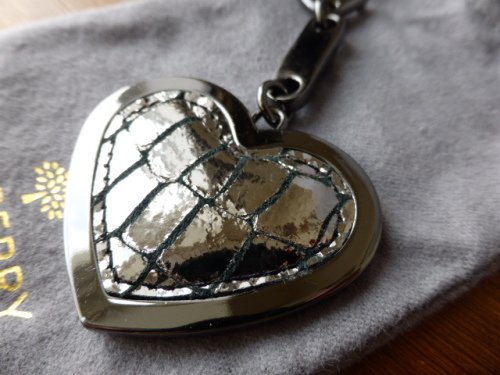 Mulberry Heart Frame Keyring Bag Charm in Sillver Metallic Croc Print