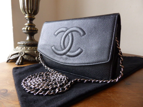 Chanel WOC Wallet on Chain in Black Caviar with Silver Tone Hardware