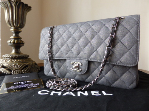 Chanel Medium Flap in Grey Sparkle Fabric with Silver Hardware