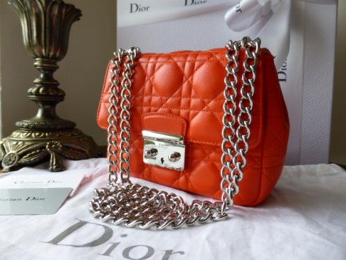 Dior Miss Dior New Lock (small) in Orange Lambskin