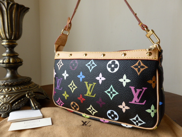 Louis Vuitton Black Multicolore Monogram Pochette