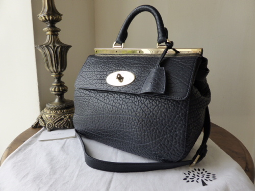 Mulberry Small Suffolk in Midnight Shrunken Calf Leather
