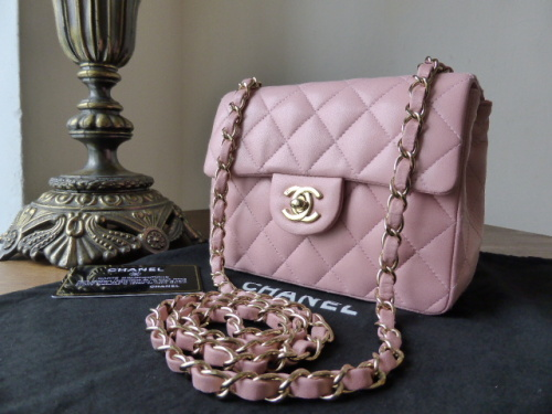 Chanel Mini Timeless Classic Flap Bag in Baby Pink Lambskin with Gold Hardw