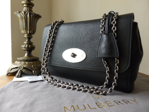 Mulberry Lily Medium in Black Glossy Goat with Silver Nickel Hardware - New