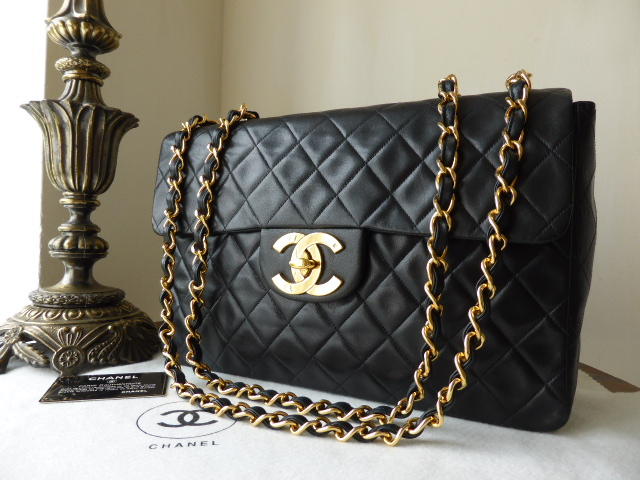 Chanel Maxi XL Jumbo Flap Bag in Black Lambskin with Gold Hardware