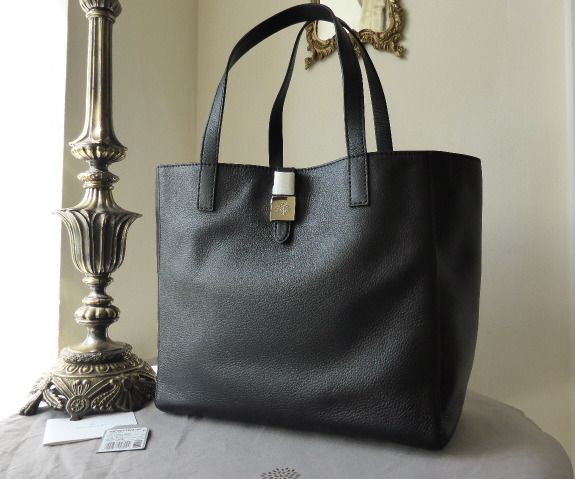 Mulberry Tessie Tote in Black Soft Small Grain Leather - New