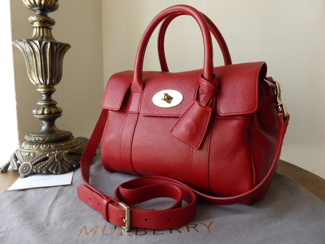 Mulberry Small Bayswater Satchel in Poppy Red Glossy Goat Leather