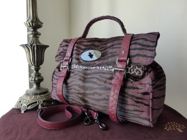 Mulberry Oversized Alexa in English Plum Bengal Tiger Haircalf