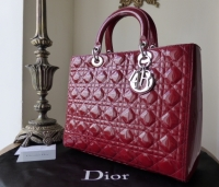 Dior Lady Dior Large Tote in Red Patent with Silver Hardware -SOLD