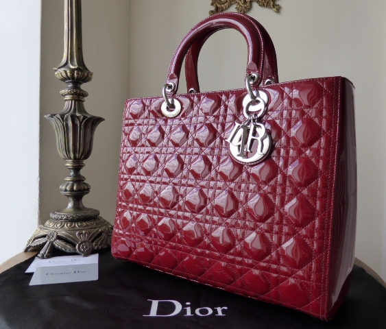 Dior Lady Dior Large Tote in Red Patent with Silver Hardware