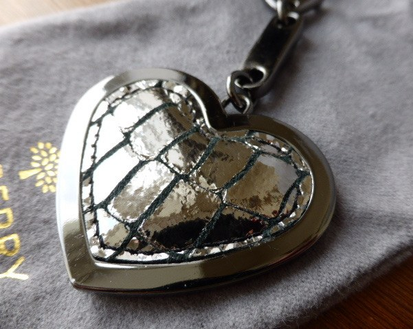mulberry heart framed keyring silver metallic croc