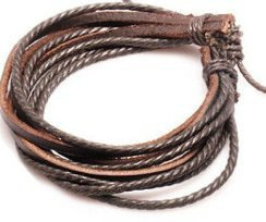 Leather Wrist Bands And Rope Brown Bracelet