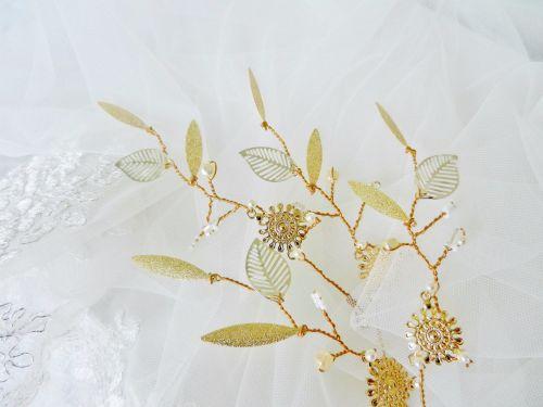 Glod leaf bridal hair accessory-hair vine pins DSCN4322