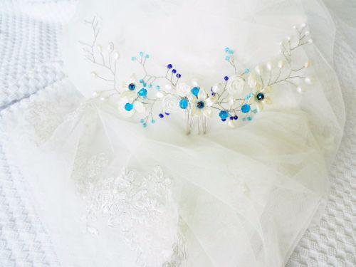 Fresh water pearl bridal hair accessory-blue-head piece DSCN4287