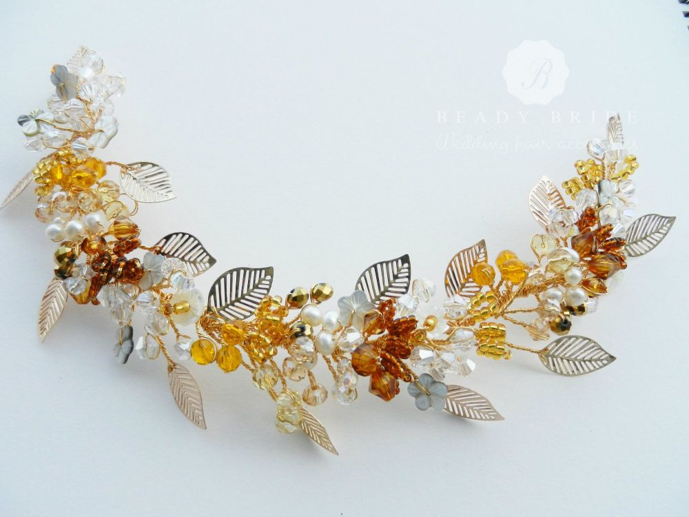 Amber-Autumn-colour wedding-hair-accessory by Beady Bride-UK (2)