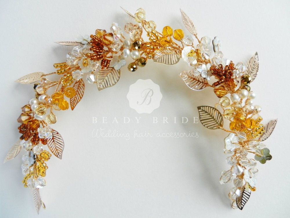 Amber-Autumn-colour wedding-hair-accessory by Beady Bride-UK (4)