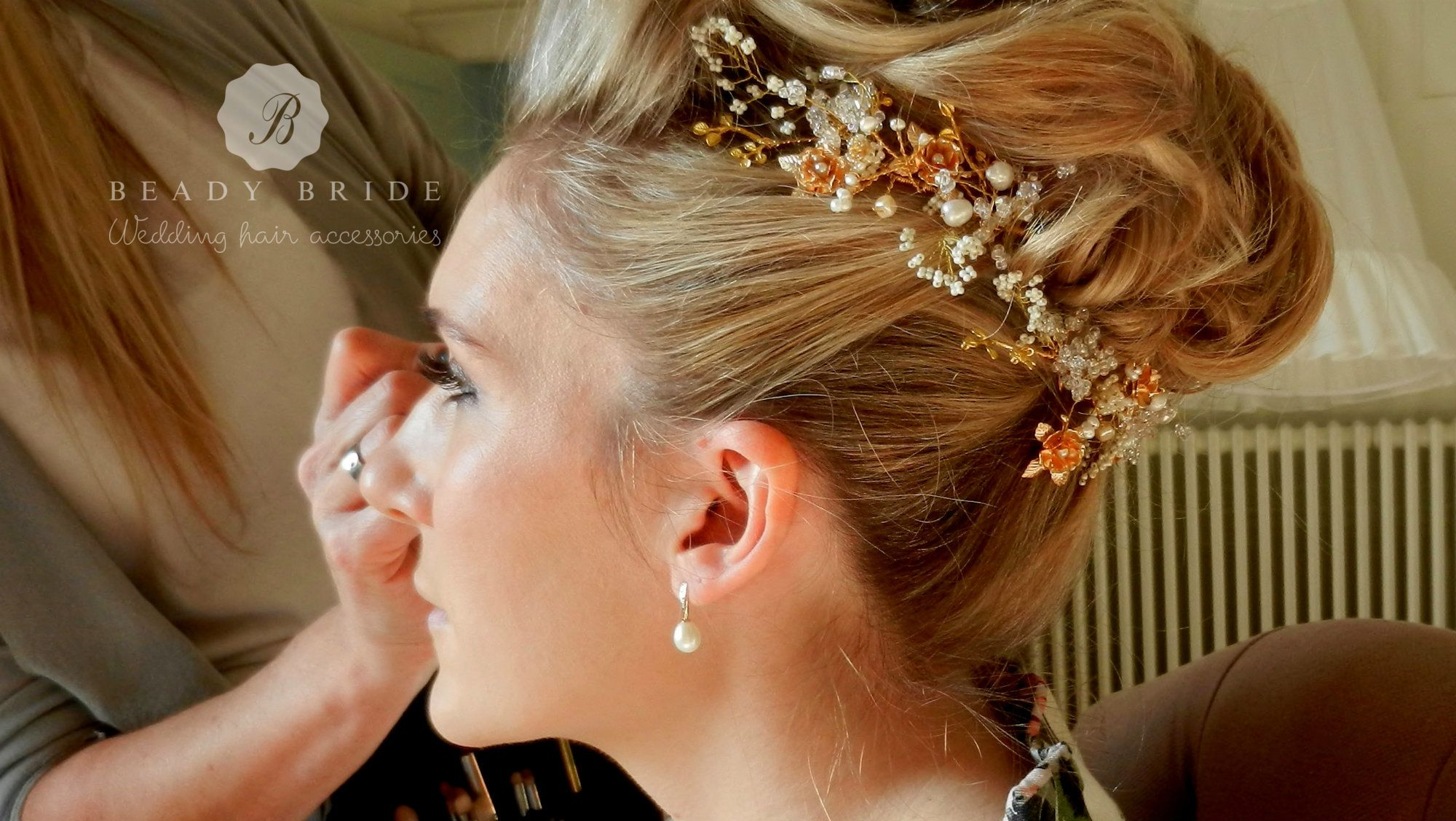 Floral wedding hair accessories by Beady Bride-UK