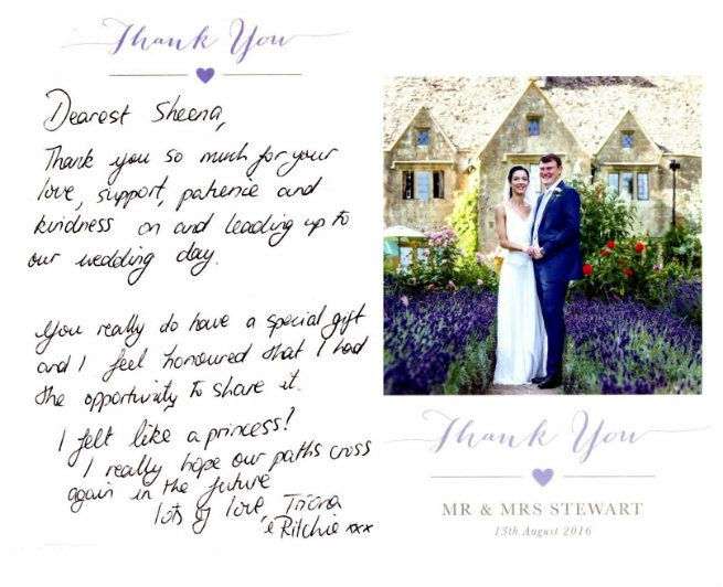 Thank you card 2017 Triona and Richie