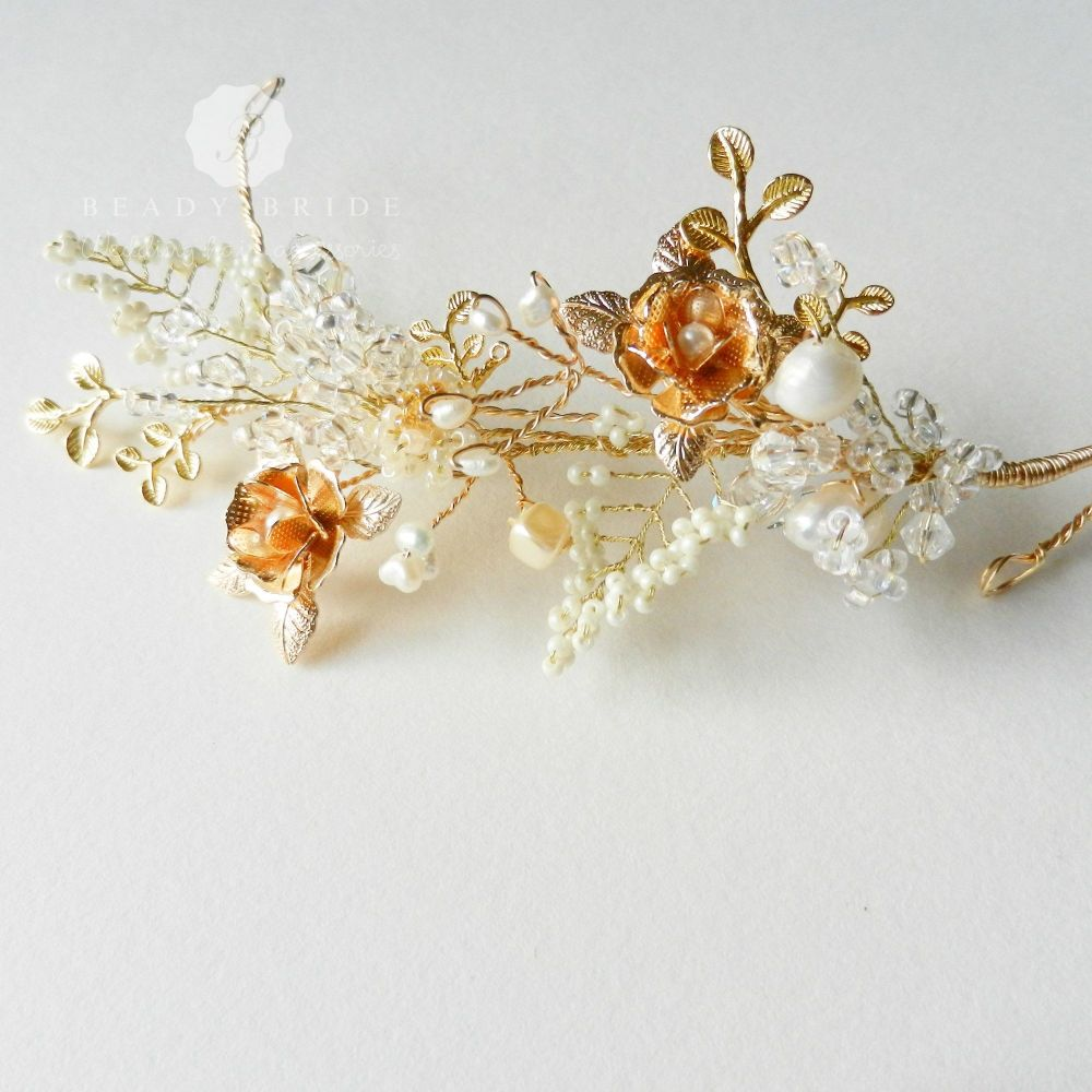 Rosea-Delicate- intricate-bridal-hair accessory-head piece by Beady Bride-U