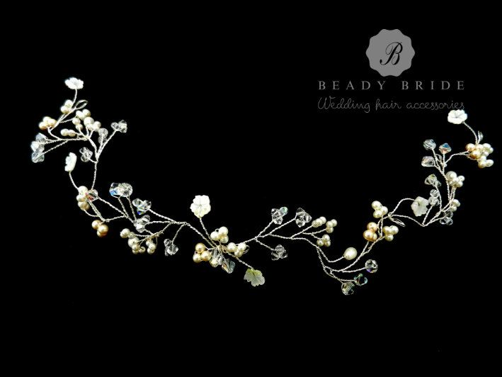 Bespoke-bridal hair vines and Floral wedding hair accessories by Beady Bride-UK