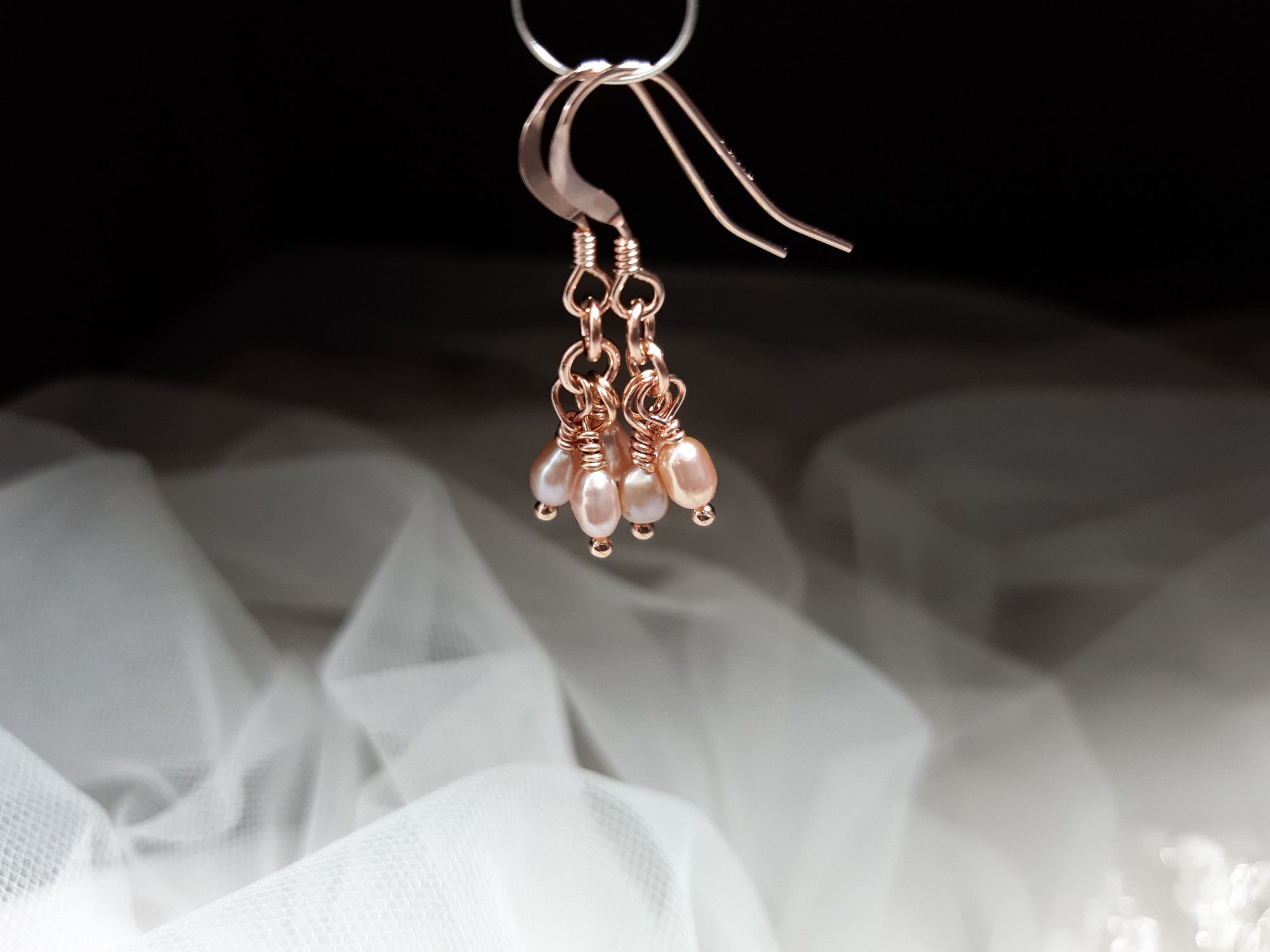 Occasion-rose gold pearl earrings-2