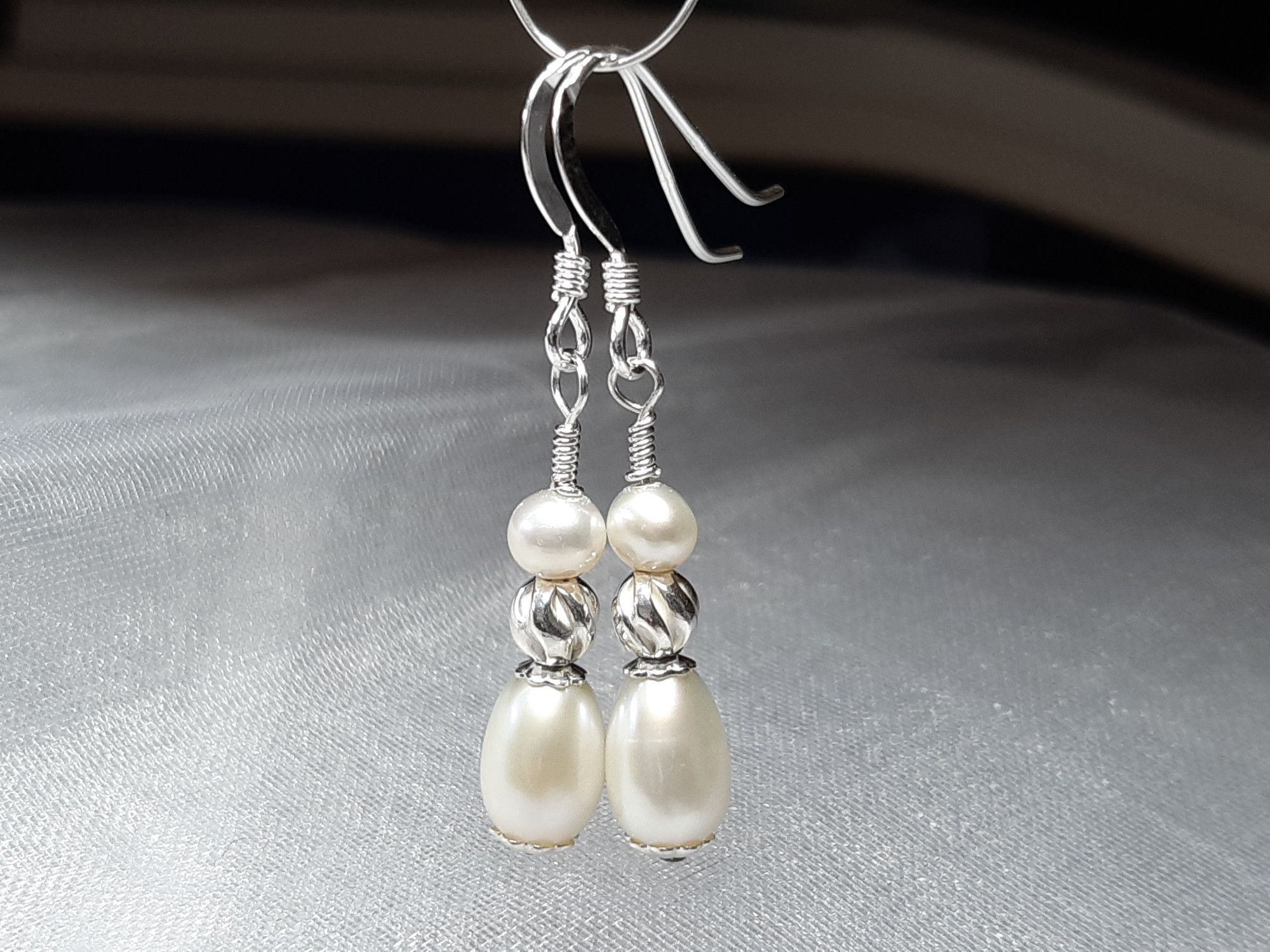 Occasion-bridal-pearl drop earrings with sterling silver-2