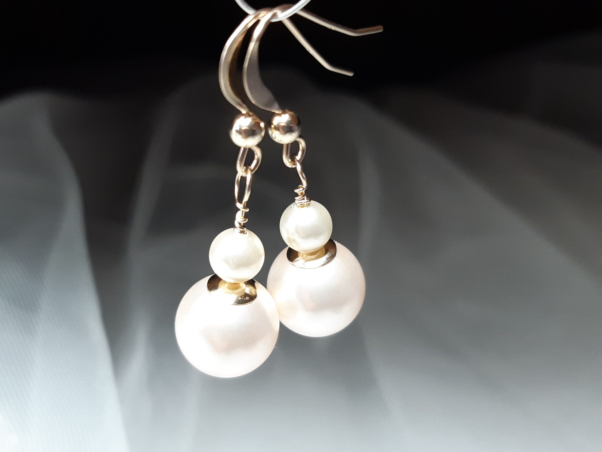 Occasion-bridal-wedding-earrings with 14K gold & pearls-3