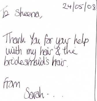 thank you card sarah 2008