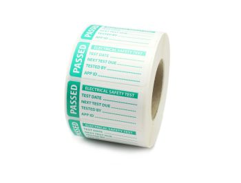1000 - Passed PAT Electrical Safety Test Labels. 50mm x 25mm. Green & White.
