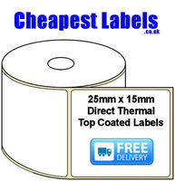 25x15mm Direct Thermal Top Coated Labels