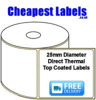 25mm Diameter Direct Thermal Top Coated Labels