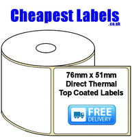 76x51mm Direct Thermal Top Coated Labels