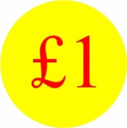 Circular '£1' Promotional Labels / Stickers - 1000 Labels