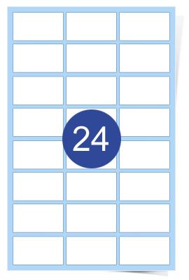 A4 Laser Sheets - 24 Label Per Sheet - 100 Sheets Per Box