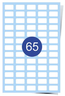 A4 Laser Sheets - 65 Label Per Sheet - 100 Sheets Per Box